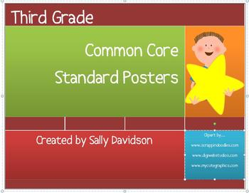 Third Grade Common Core Standard Posters - Kid Friendly! - 91 Pages!