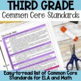 Third Grade Common Core Standards List