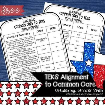 FREEBIE Third Grade TEKS Math Standards Alignment