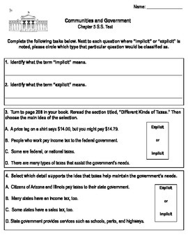 "Third Grade ""Communities and Government"" Social Studies Test"