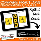 Third Grade Compare Fractions Using Symbols TEKS Boom Card