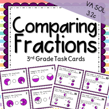 Third Grade Comparing Fractions Task Cards