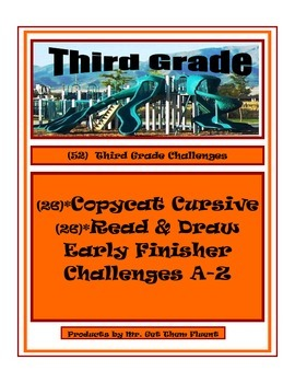 Cursive Writing with Read and Draw Challenge Center Activities Third Grade