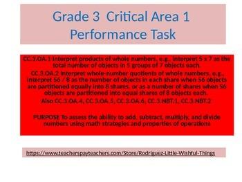 Third Grade Math Critical  Area 1  Performance Task