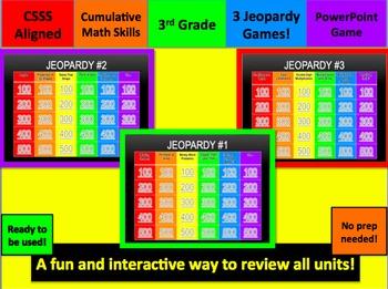 Third Grade Cumulative Math Skills Jeopardy Review Games