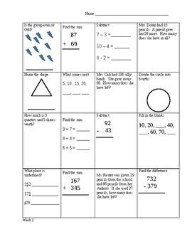 Third Grade Cumulative Work