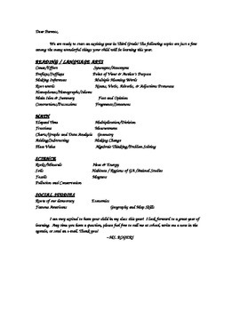 Third Grade Curriculum Outline Letter for Parents