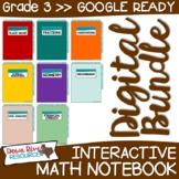 Third Grade DIGITAL Math Interactive Notebook BUNDLE   3rd Grade Math TEKS