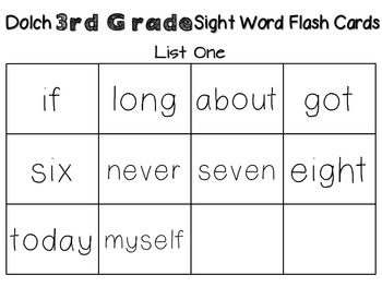Third Grade DOLCH Sight Word Pack