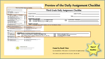 Third Grade Daily Assignment Checklist for use with Abeka Curriculum