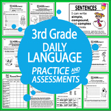 "3rd Grade Language Practice and Assessments + 28 FULL COLOR ""I Can"" Posters"