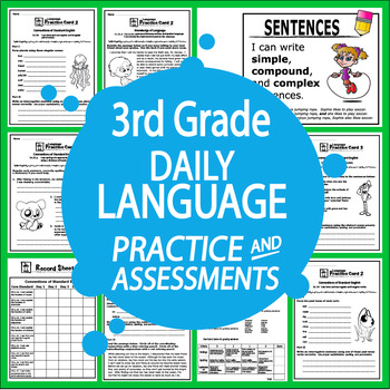 """3rd Grade LANGUAGE Daily Practice (""""I Can"""" ELA Posters + 3rd Grade Morning Work)"""