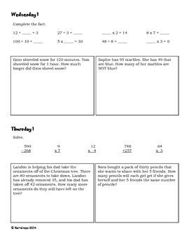 Third Grade Daily Math Problems- January