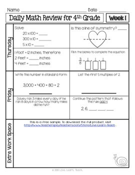 4th Grade Math Review | 4th Grade Morning Work | 1-week FREE