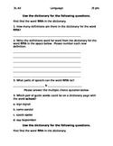 3rd Grade Dictionary Quiz 3L.4d