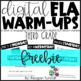 Third Grade Digital ELA Warm-Ups FREEBIE