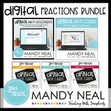 Third Grade Digital Math Fractions Bundle | Distance Learning