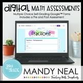 Third Grade Digital Self-Grading Fraction Math Assessments