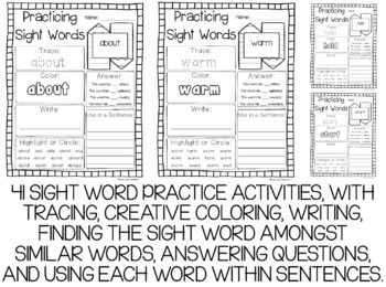 Dolch Third Grade Sight Words Year-Long Activity Pack