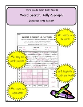 Third Grade Dolch Search, Tally & Graph Common Core Math & Literacy Packet