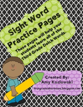 Third Grade Dolch Sight Word Practice Sheets