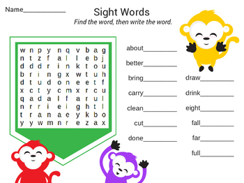 Third Grade Dolch Sight Word Searches