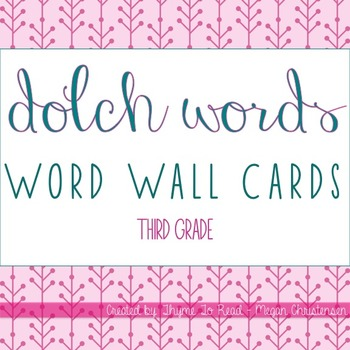 Third Grade Dolch Sight Word - Word Wall Cards