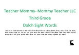 Third Grade Dolch Sight Words Flashcards