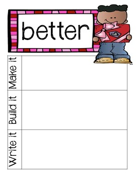 Third Grade Dolch Sight Words: Make it, build it, write it (Valentines)