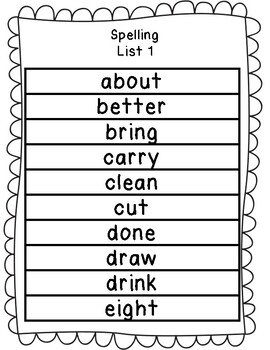 Third Grade Dolch Sight Words Spelling Packet