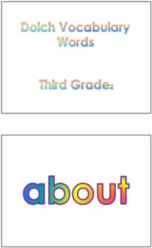 Third Grade Dolch Voc. Sight Words PowerPoint and Flash Cards #2
