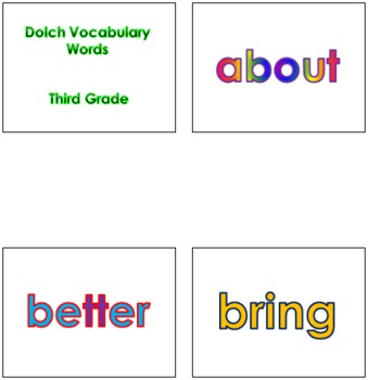 Third Grade Dolch Vocabulary Sight Words PowerPoint and Flash Cards #1