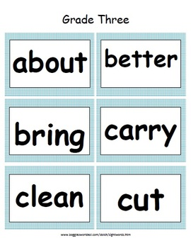 Third Grade Dolch Word Card Set