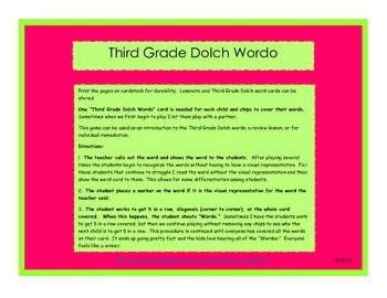 Third Grade Dolch Wordo game
