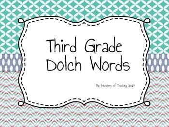 Third Grade Dolch Words Assessment and Flash Cards