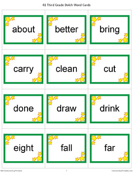 Third Grade Dolch Words Memory Game
