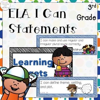 Third Grade ELA I Can Statements