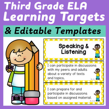 Third Grade ELA I Can Statements (Learning Targets) for the Common Core