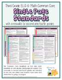 Third Grade ELA & Math Common Core Single Page Standards
