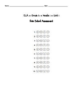 Engage NY Third Grade ELA Module 1 Assessments