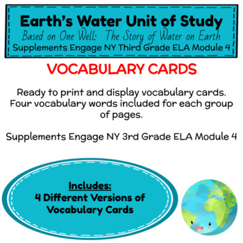 Engage NY Third Grade ELA Module 4 Vocabulary Cards