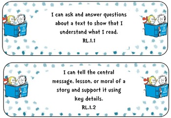 "Third Grade ELA Standards ""I Can Statements"" Seuss Theme {LAFS}"