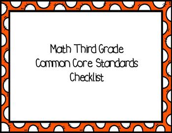 Third Grade ELA and Math Common Core Standards Checklist