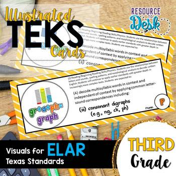 Third Grade ELAR TEKS - Illustrated and Organized Objectives Cards