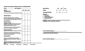 Third Grade ESL Progress Report Card