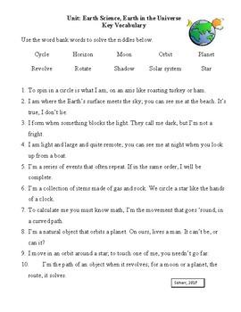 Third Grade Earth Science Vocabulary Activities