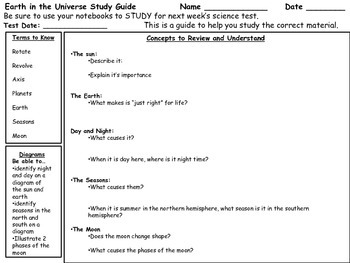 Third Grade Earth in the Universe Test and Study Guide