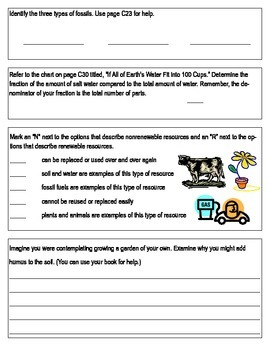 "Third Grade ""Earth's Resources"" Common Core Science Test/Assessment"
