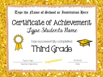 Editable Third Grade Graduation Certificates - Glitter Borders