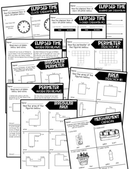 Third Grade Skill Pages Elapsed Time Measurement Area and Perimeter